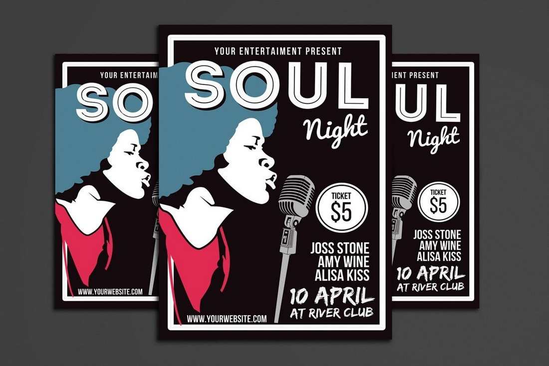 A Music Flyer Template For Promoting A Soul Music Event. The Template Is  Fully Layered And Easily Editable. You Can Change Its Colors And Text Using  ...