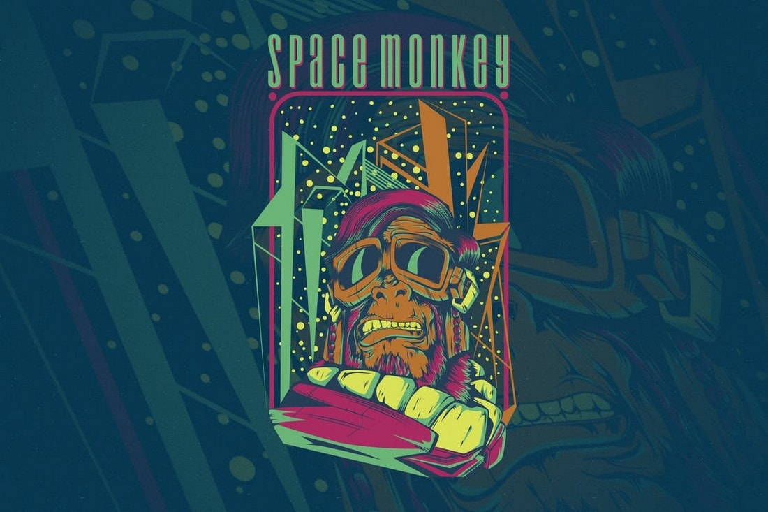 Space-Monkey-tshirt-design 10+ Creative T-Shirt Design Ideas (How to Design a T-Shirt) design tips