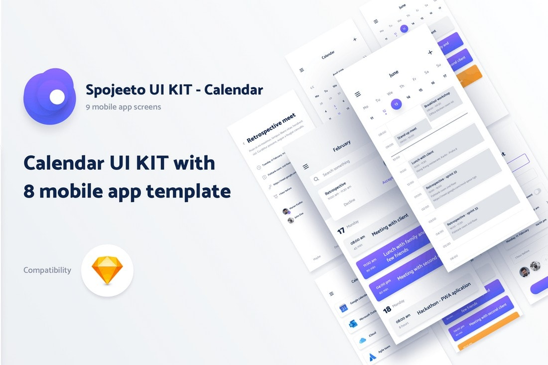 Spojeeto-Calendar-Mobile-App-UI-Screens 25+ Best Mobile App UI Design Examples + Templates design tips  Inspiration