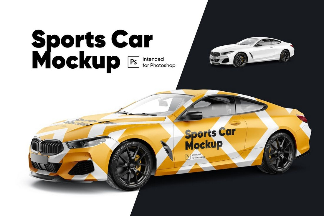 Sports Car Decal Mockup Template