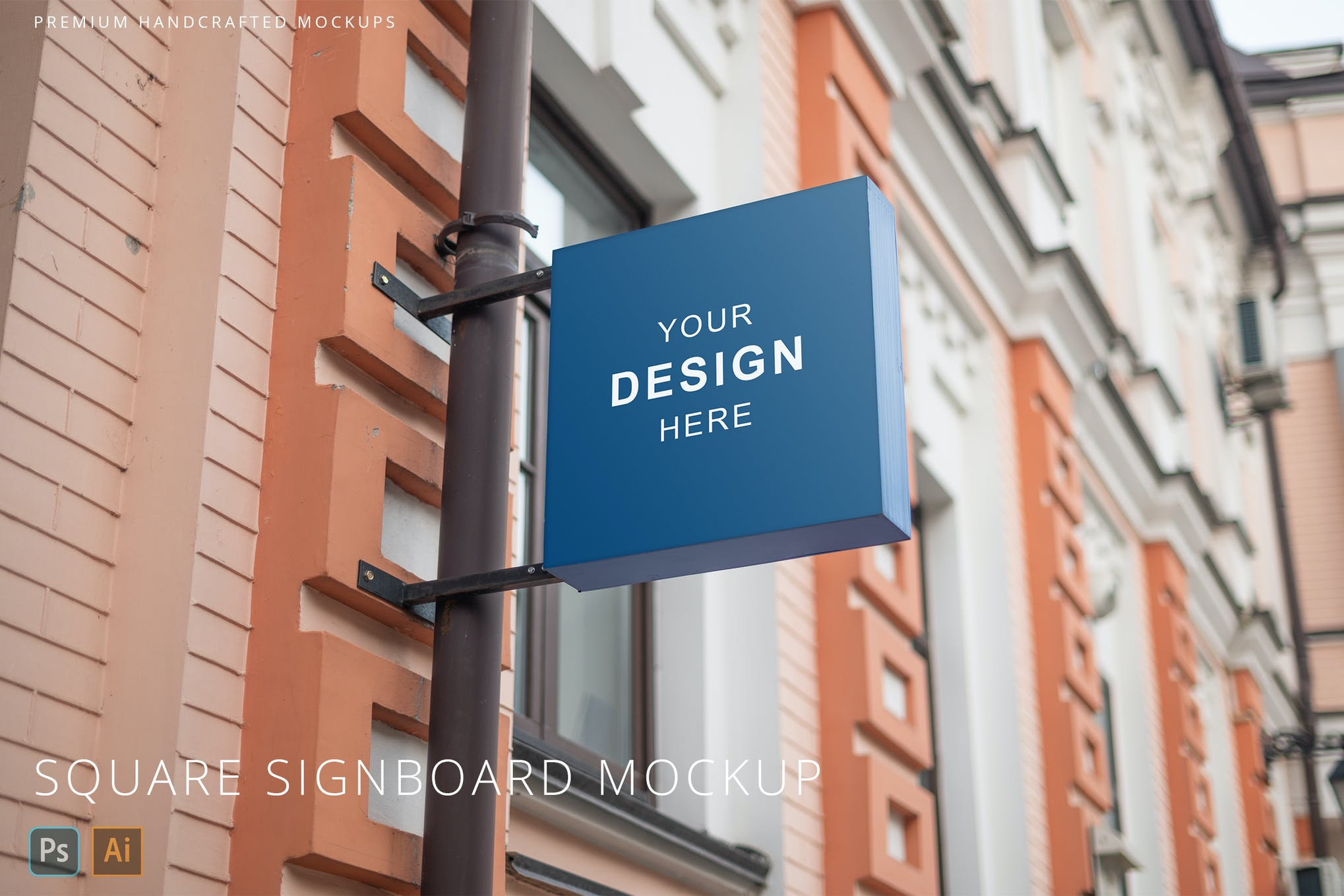 Square Blue Signboard Real Street Logo Mockup