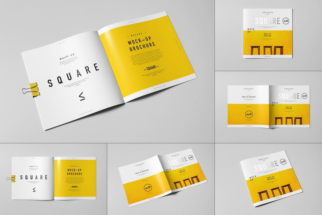 Square Brochure Mockup Template