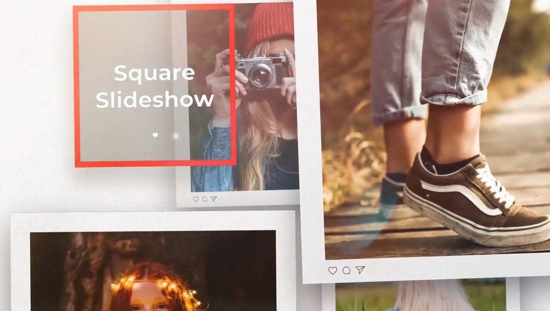 Square Photo Slideshow - DaVinci Resolve Template