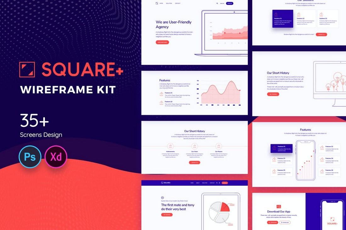 Square+ - Web Wireframe Kit for Adobe XD