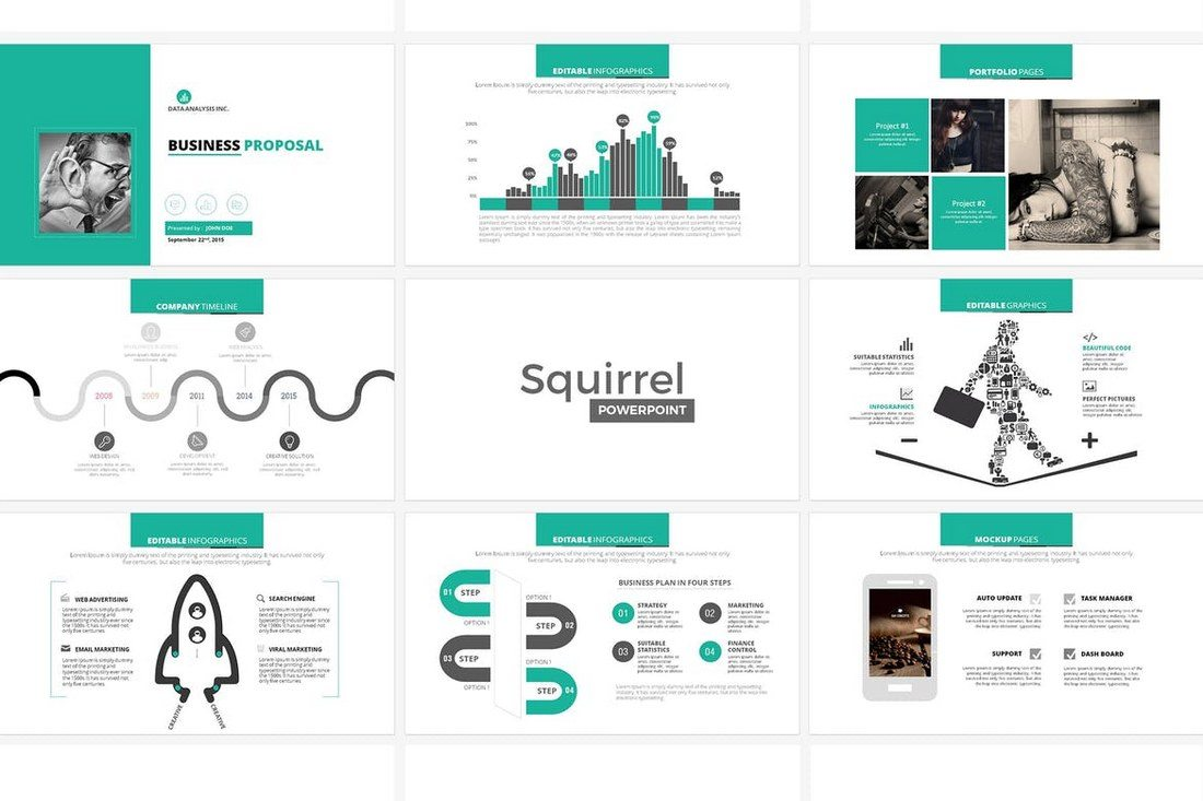 squirrel is a powerpoint template specially designed for creating business proposal presentations the template comes with over 50 unique slides featuring