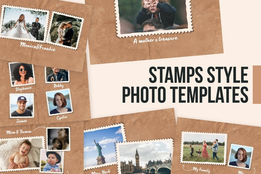 Stamps Style Photo Collage Templates