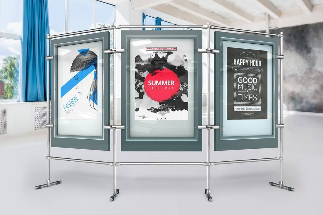 Stand-Poster-Mock-Ups 30+ Best Poster Mockup Templates 2021 design tips