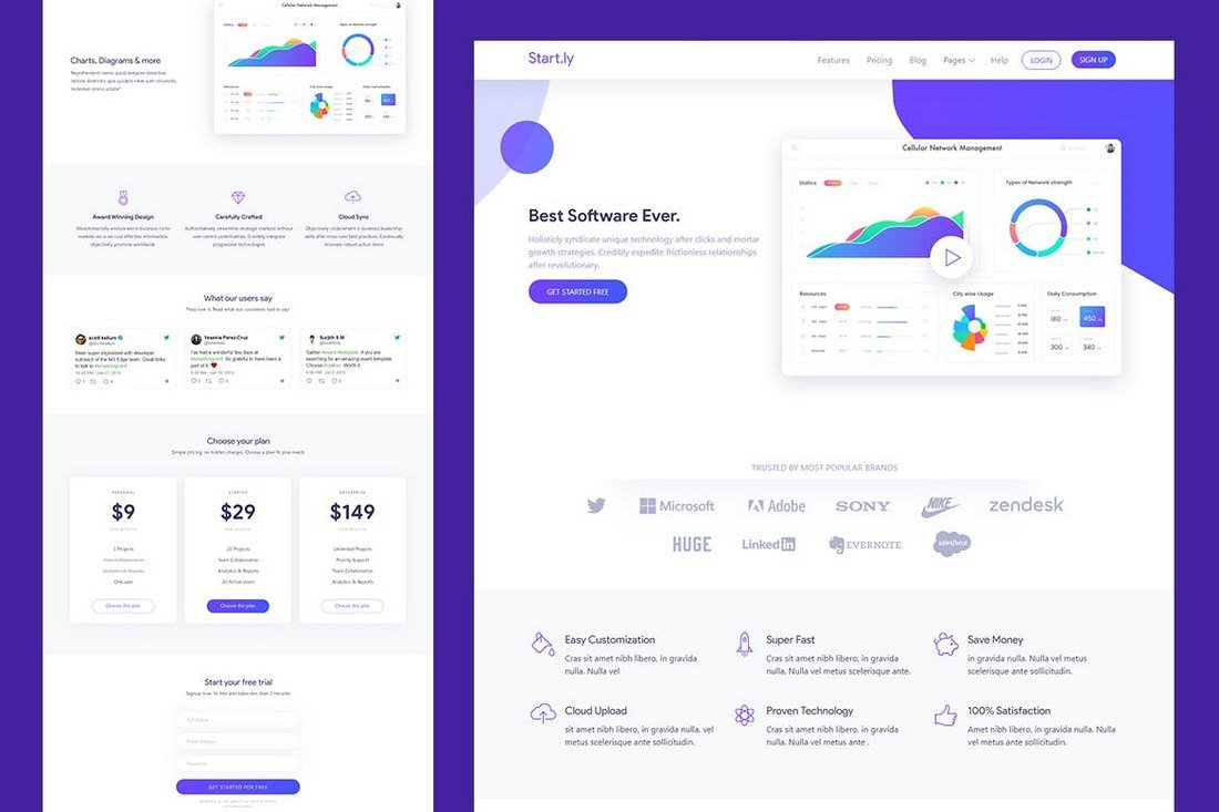 Startly - Software & SaaS App Landing Template