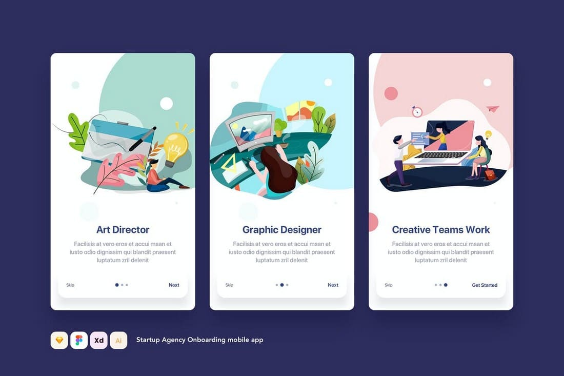 Startup-App-Onboarding-Screens-Templates 25+ Best Mobile App UI Design Examples + Templates design tips  Inspiration