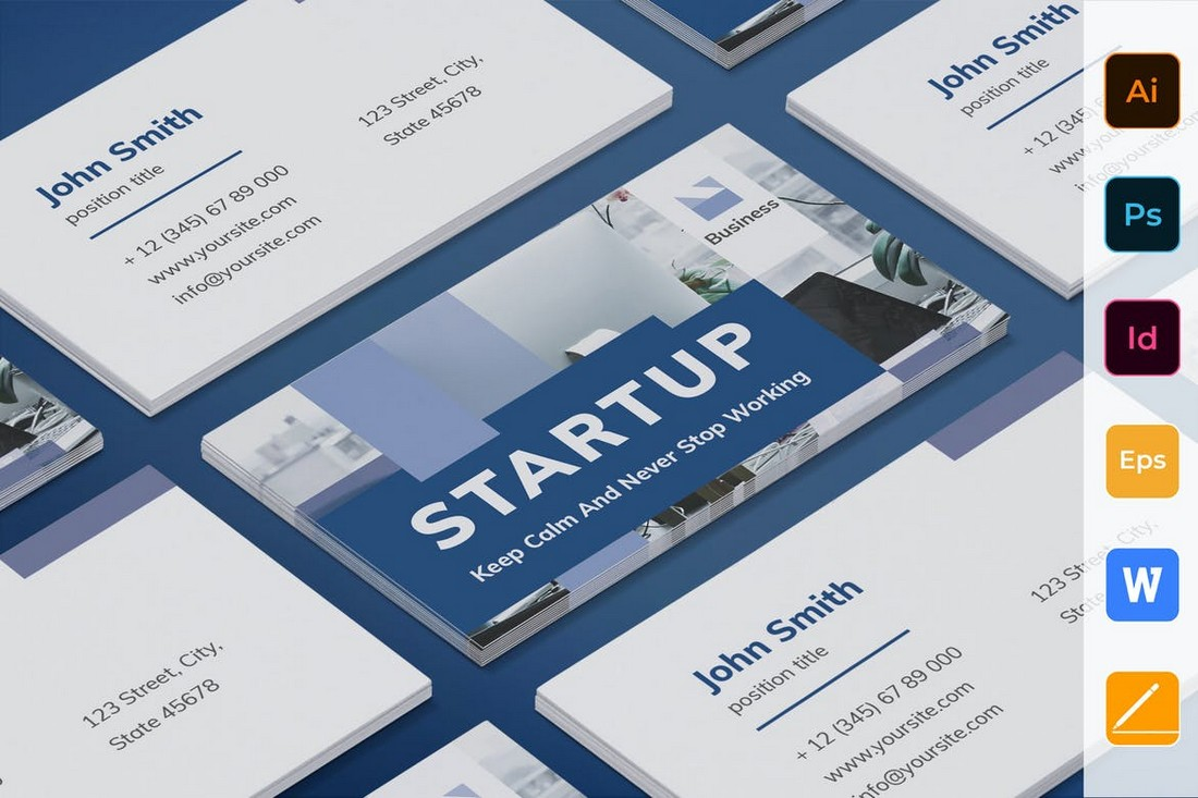 Startup Business Card for Word & Photoshop