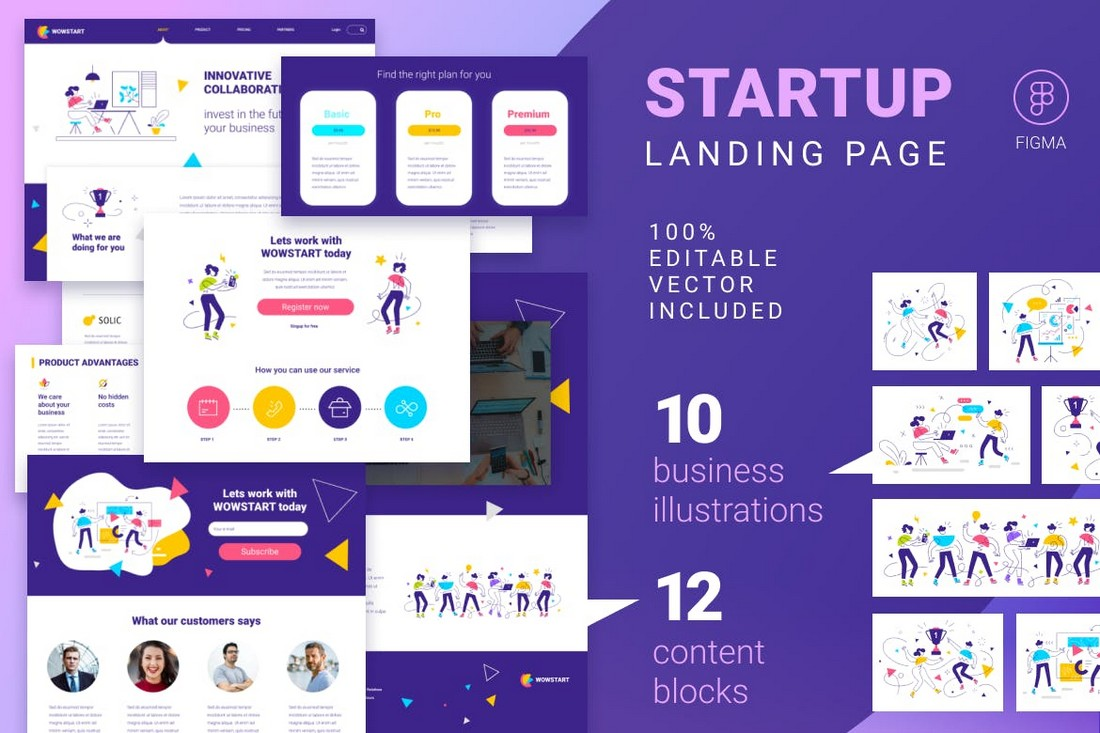 Startup Landing Page Template With Illustrations