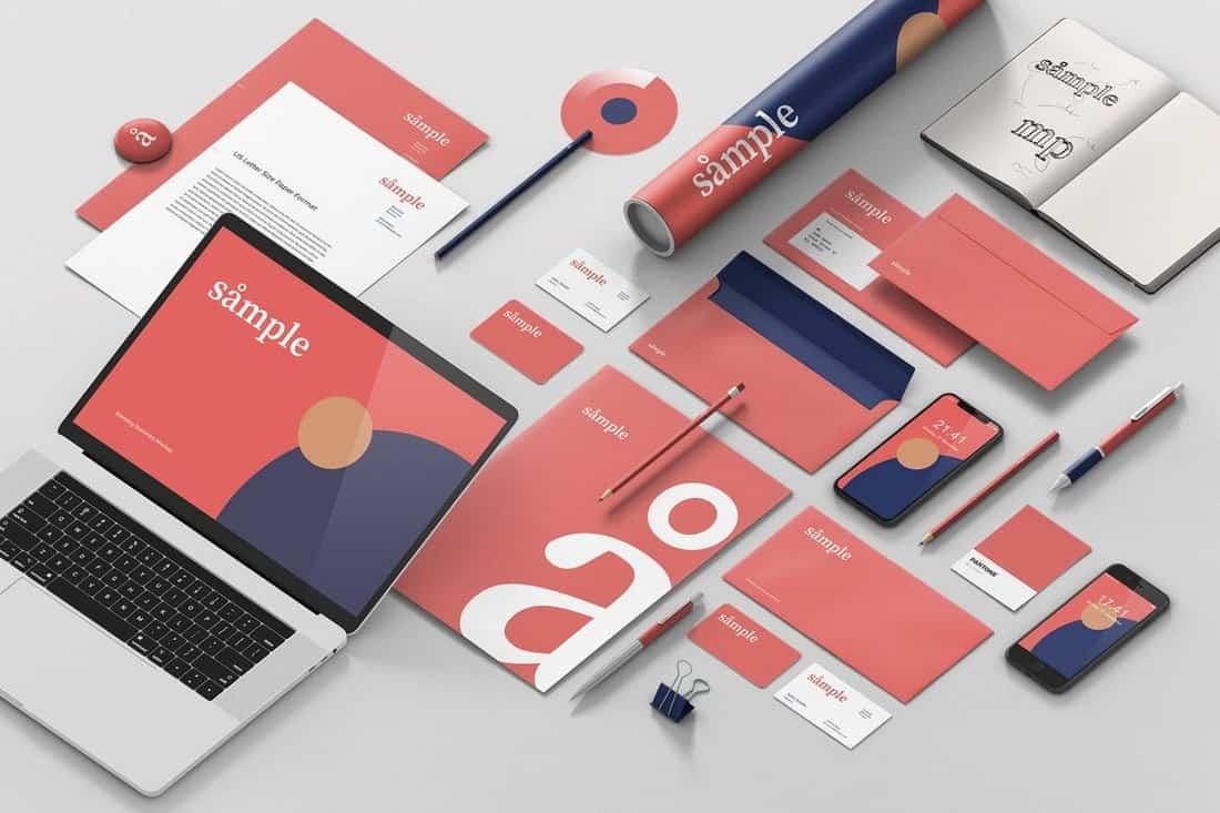 Stationery Branding - Isometric Mockup Template