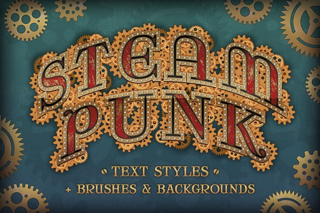 Steam-Punk-Text-Styles-Brushes-and-Backgrounds 30+ Best Retro Text Effects & Styles design tips