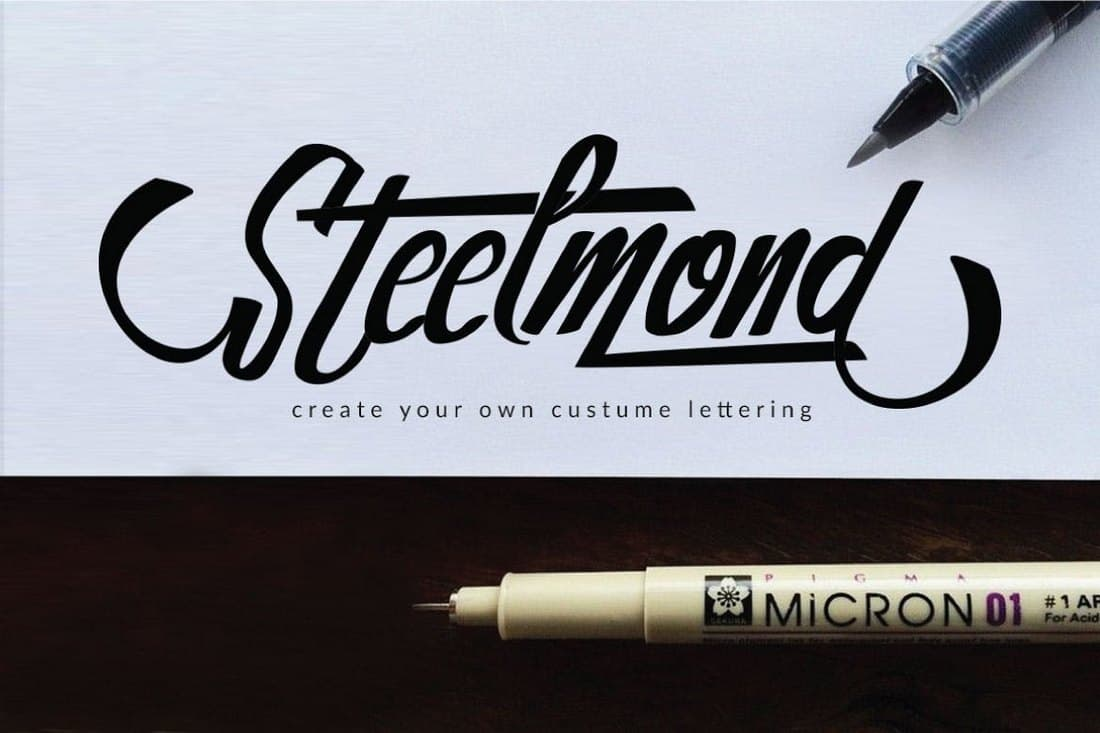 Steelmond-Hand-Lettering-Font 50+ Best Hand Lettering & Handwriting Fonts 2021 design tips
