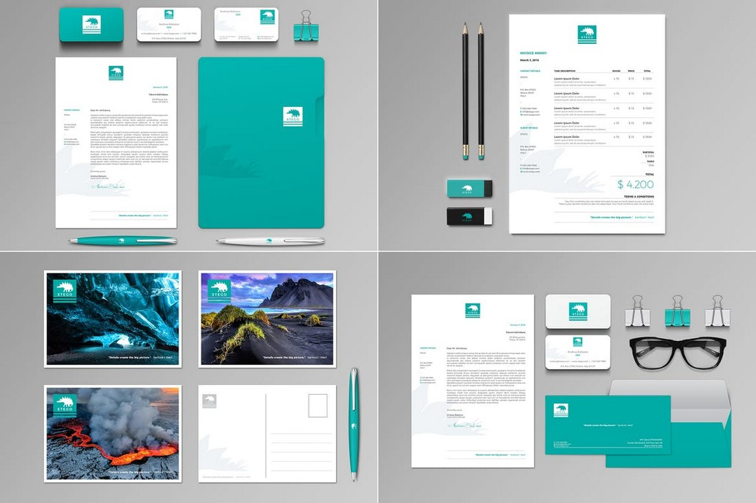 Stego Stationery Set & Invoice Templates