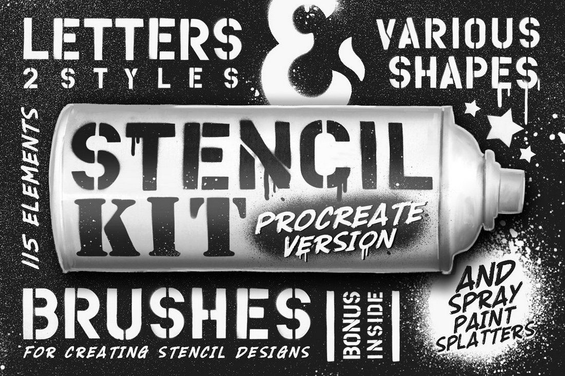 Stencil-Kit-Procreate-Brushes 30+ Best Procreate Brushes design tips