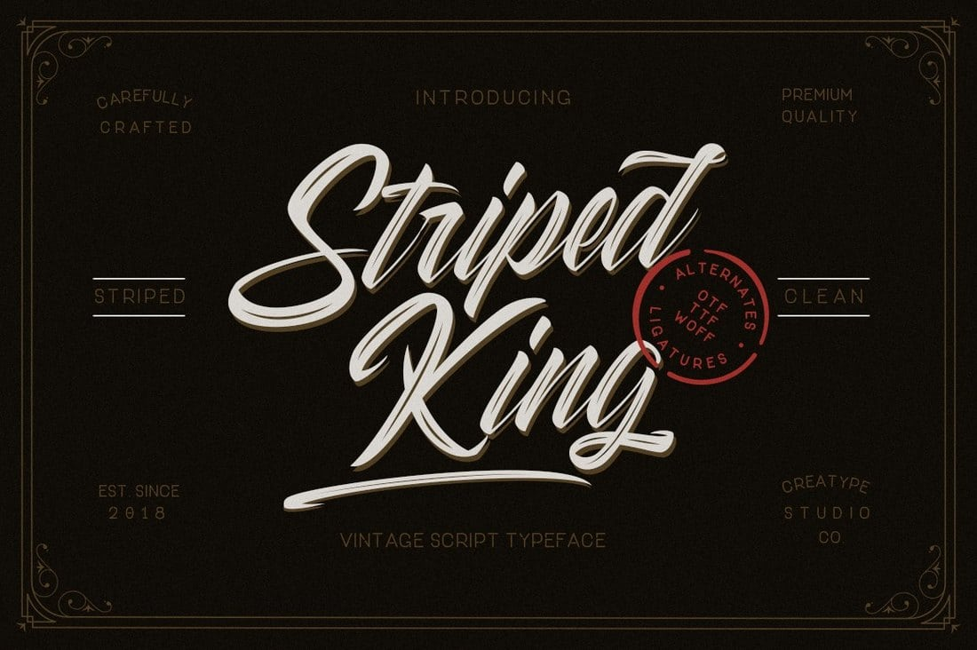 Striped-King-Handlettering-Script 60+ Best Free Fonts for Designers 2019 (Serif, Script & Sans Serif) design tips