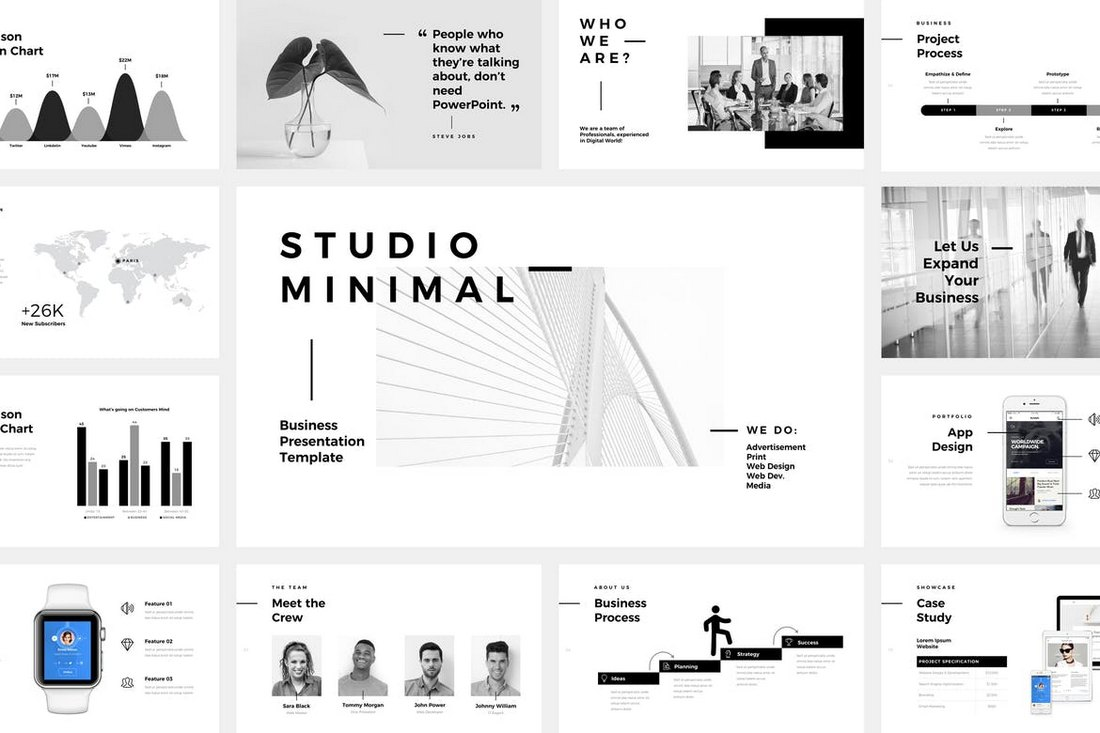 Studio-Minimal-PowerPoint-Template 30+ Animated PowerPoint Templates (Free + Premium) design tips