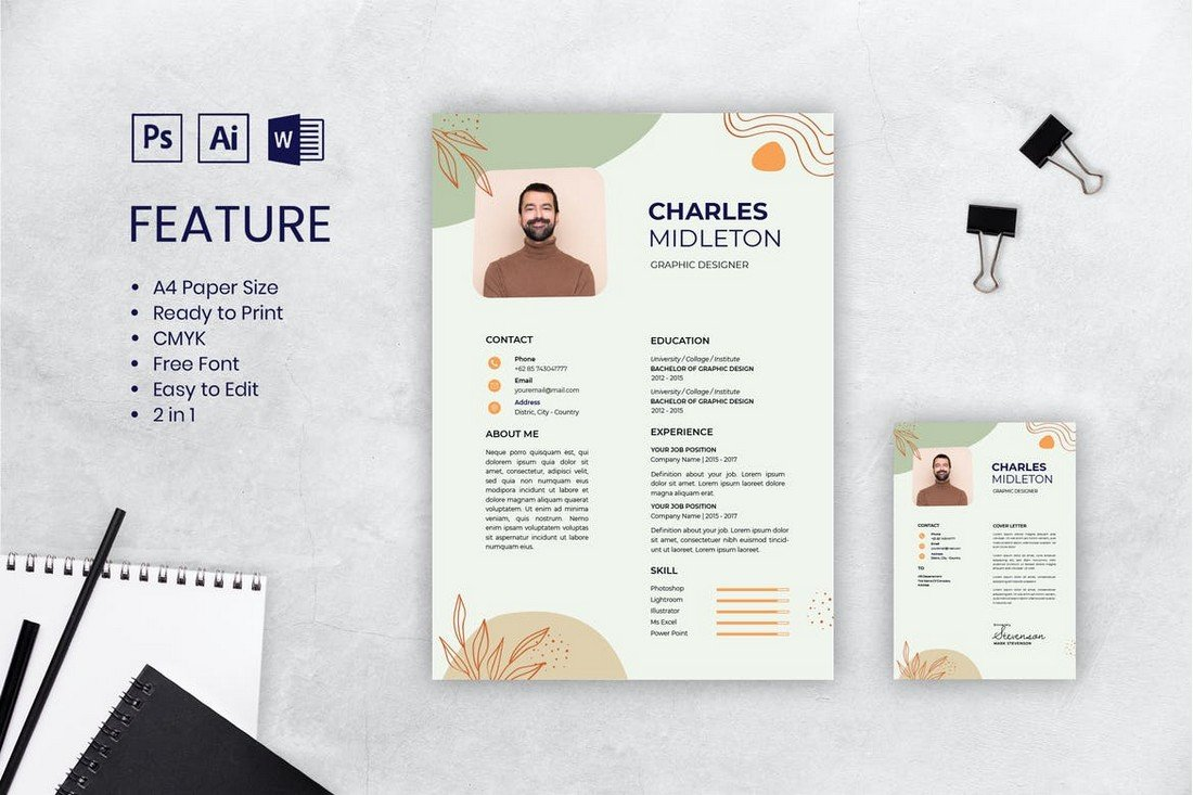 Stylish CV Resume Template for Designers