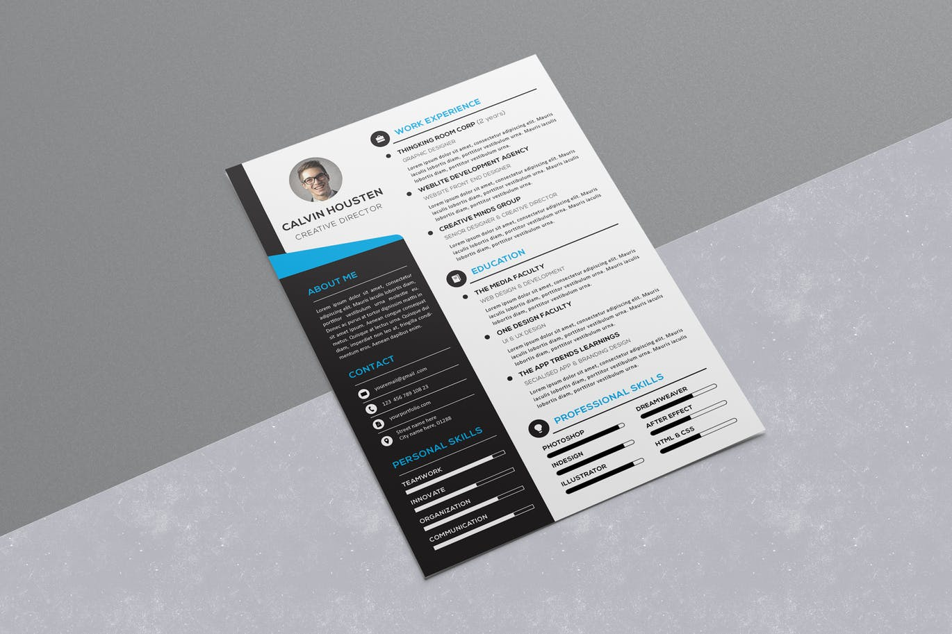 A Stylish Resume Template That Uses An Eye Catching Visual Design For  Beautifully Featuring The Information In An A4 Size Page.