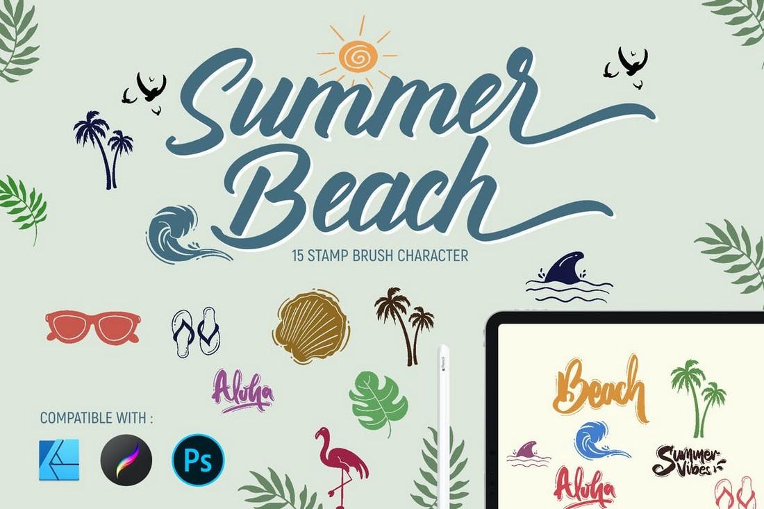Summer Beach Stamp Brushes for Affinity Designer