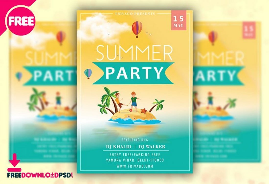 Summer-Party-Flyer-Poster-Template 20+ Best Free Poster Templates (Illustrator & Photoshop) 2020 design tips  Inspiration