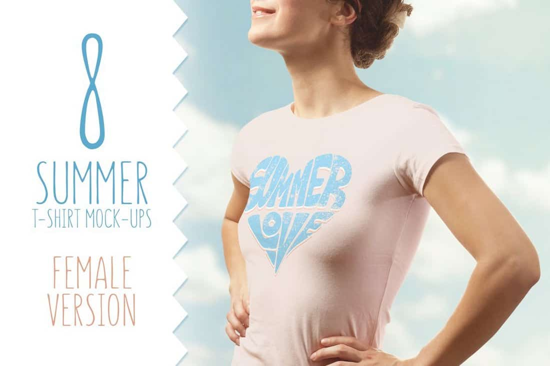 Summer T-Shirt Mockup Female Version