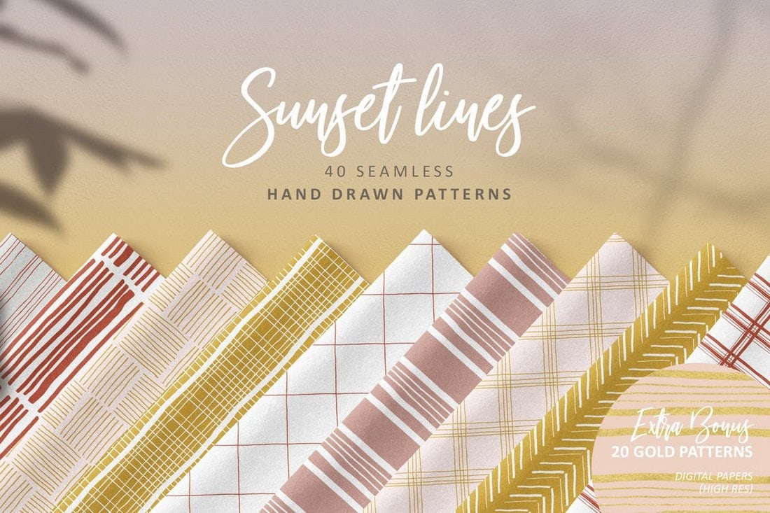 Sunset Lines Hand-Drawn Patterns