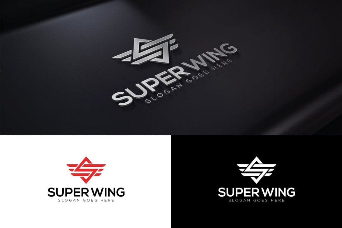 Super-Wings-Letter-S-Logo 40+ Best Photoshop Logo Templates (PSD) design tips