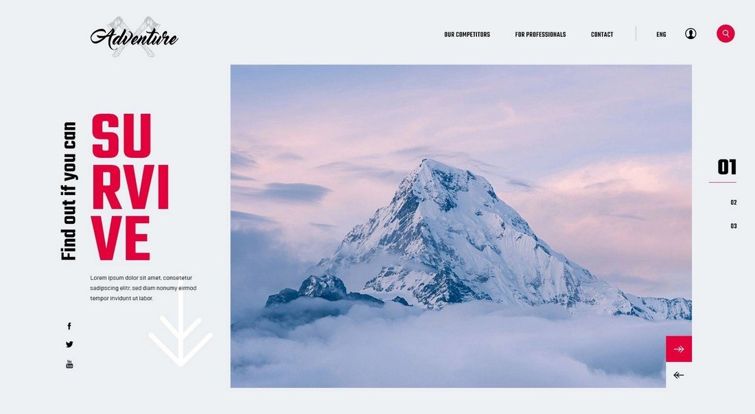 Survival - Free Adobe XD Website Template