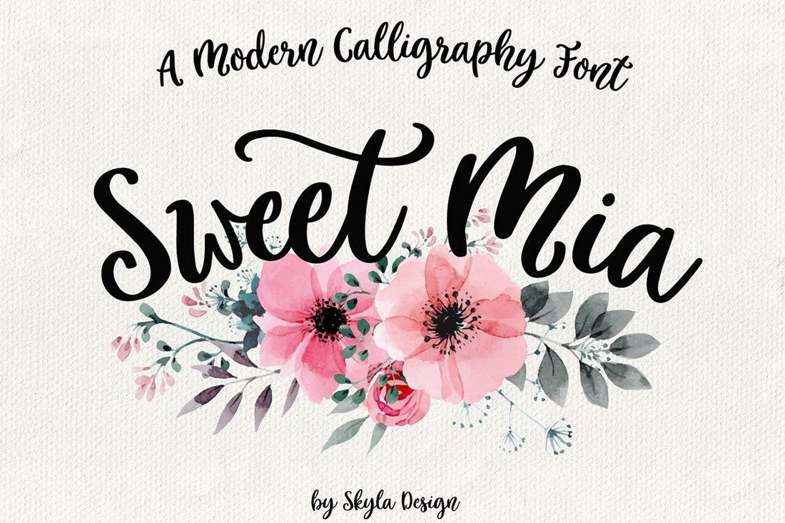 Sweet-Mia-Modern-calligraphy-font 50+ Best Hand Lettering & Handwriting Fonts 2021 design tips