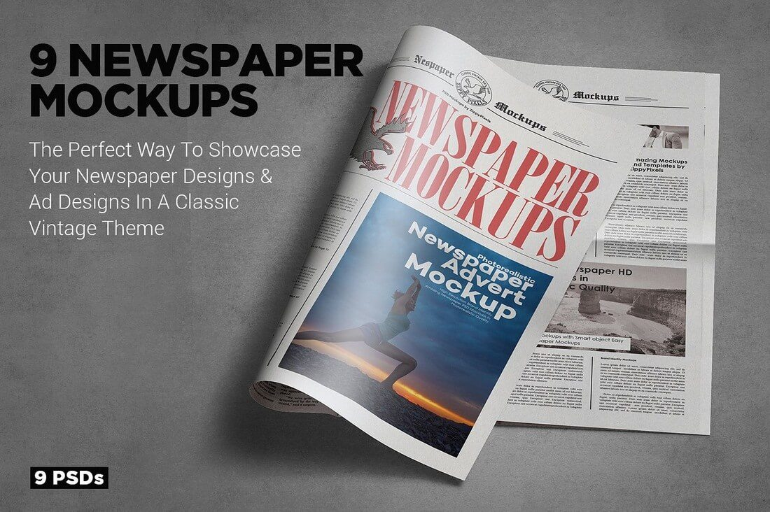 Tabloid-Size-Newspaper-Mockups 40+ Stunning Vintage Mockup Packs & Graphics design tips