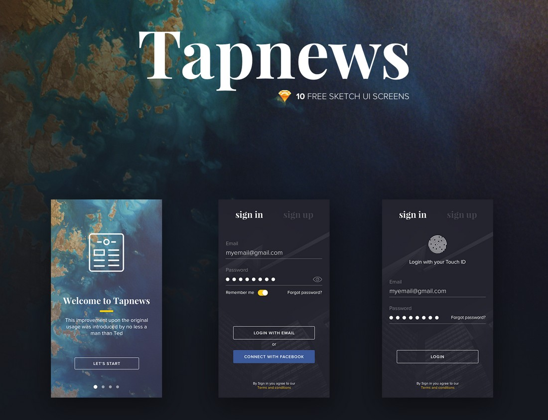 Tapnews - Free Sketch Mobile UI Kit
