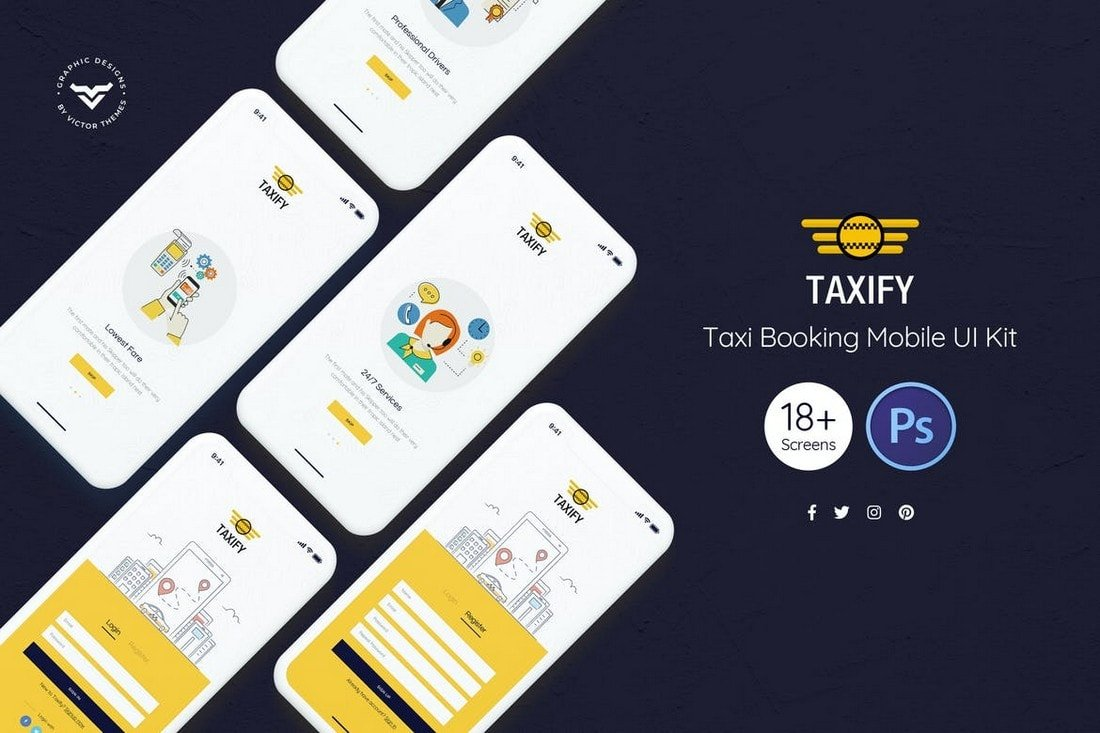 Taxify-Taxi-Booking-App-UI-Kit 25+ Best Mobile App UI Design Examples + Templates design tips  Inspiration
