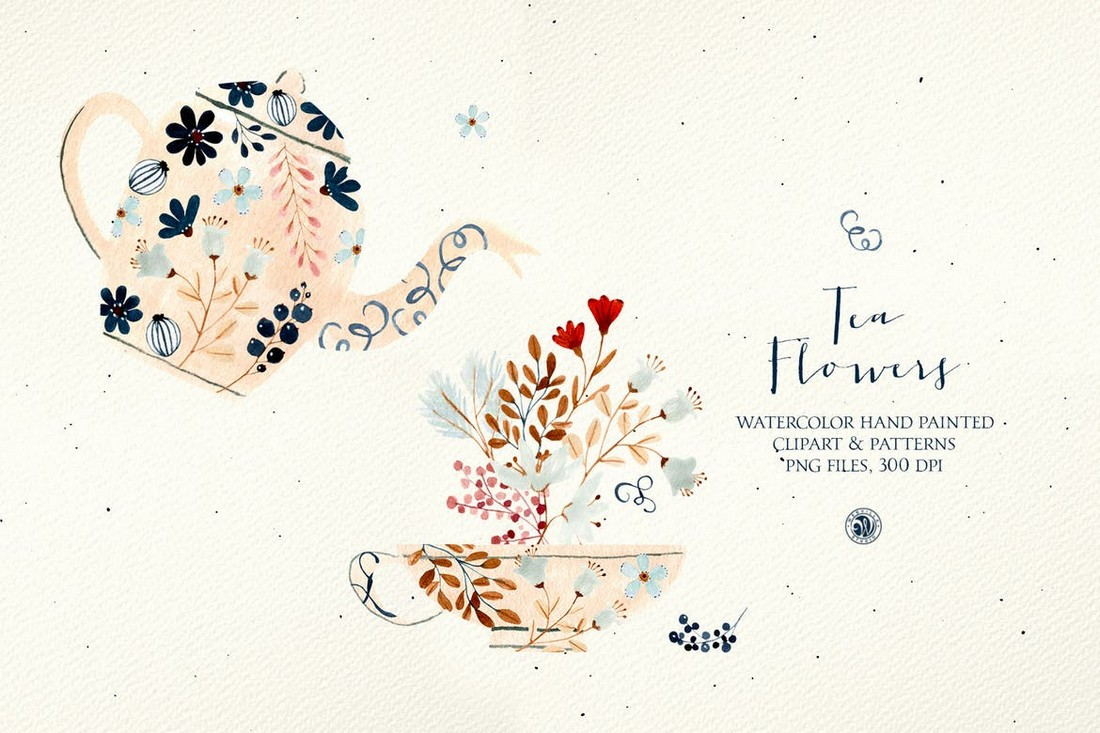 Tea Flowers - Watercolor Floral Patterns & Clipart