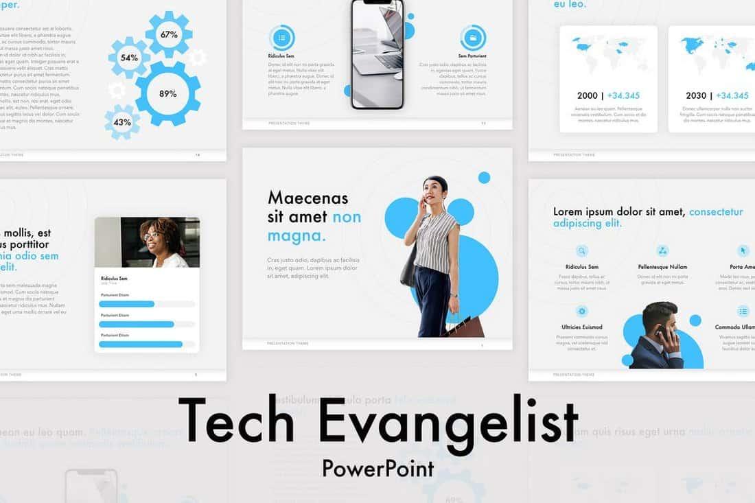 Modèle PowerPoint de technologie évangéliste  30+ Meilleurs modèles PowerPoint pour Science et technologie Tech Evangelist Technology PowerPoint Template