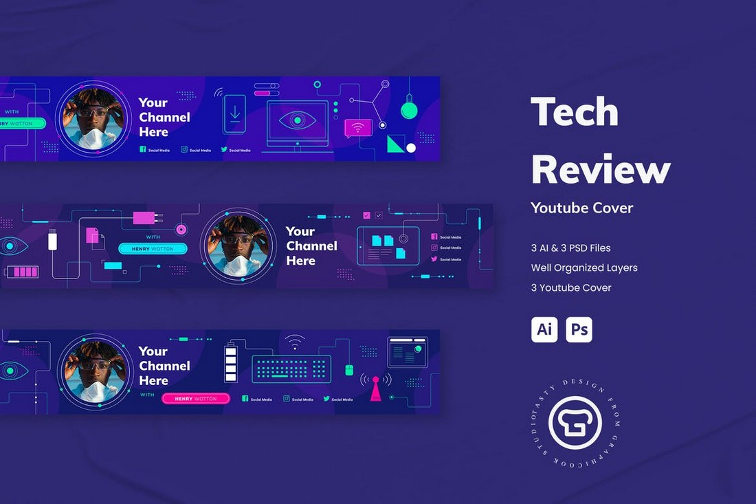 Tech Review Youtube Cover Banner Template