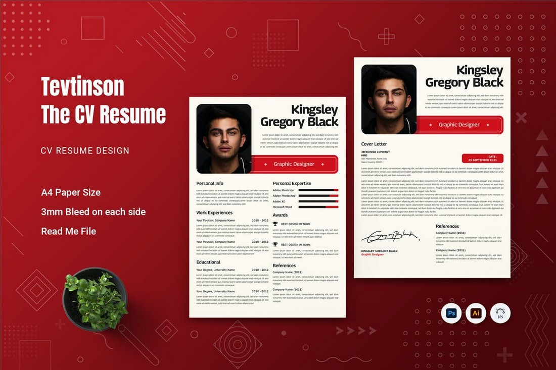 Tevtinson - Stylish CV Resume Template