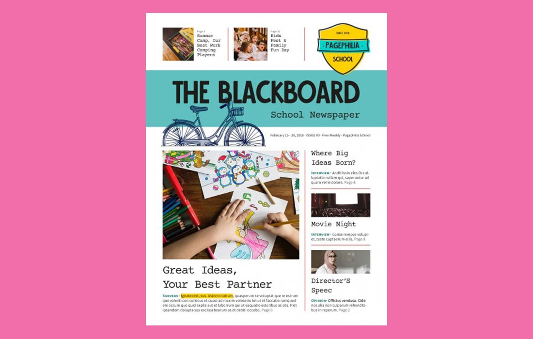 The Blackboard - Free School Newsletter Template 2