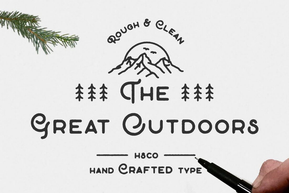 A Modern And Creative Font With Classy Design For Creating Unique Posters Designs The Great Outdoors Comes In Two Styles Clean Rough