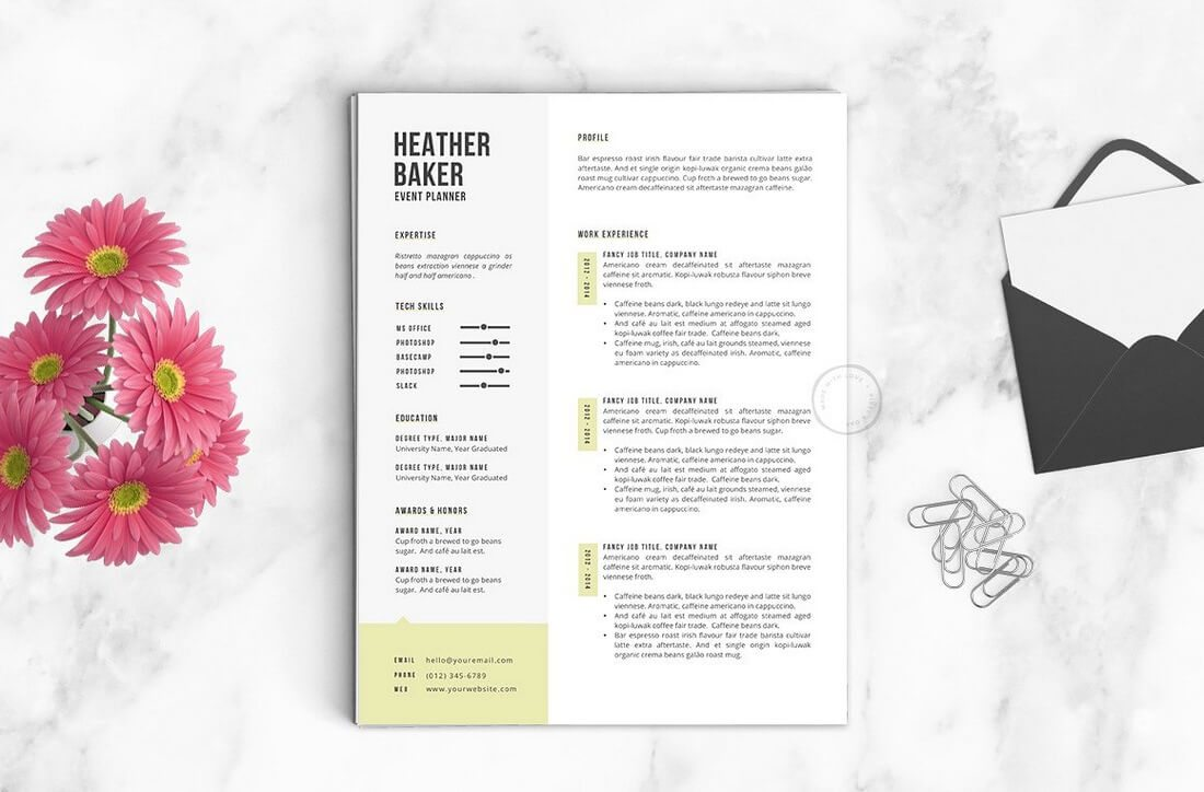 The-Heather 50+ Best CV & Resume Templates 2020 design tips