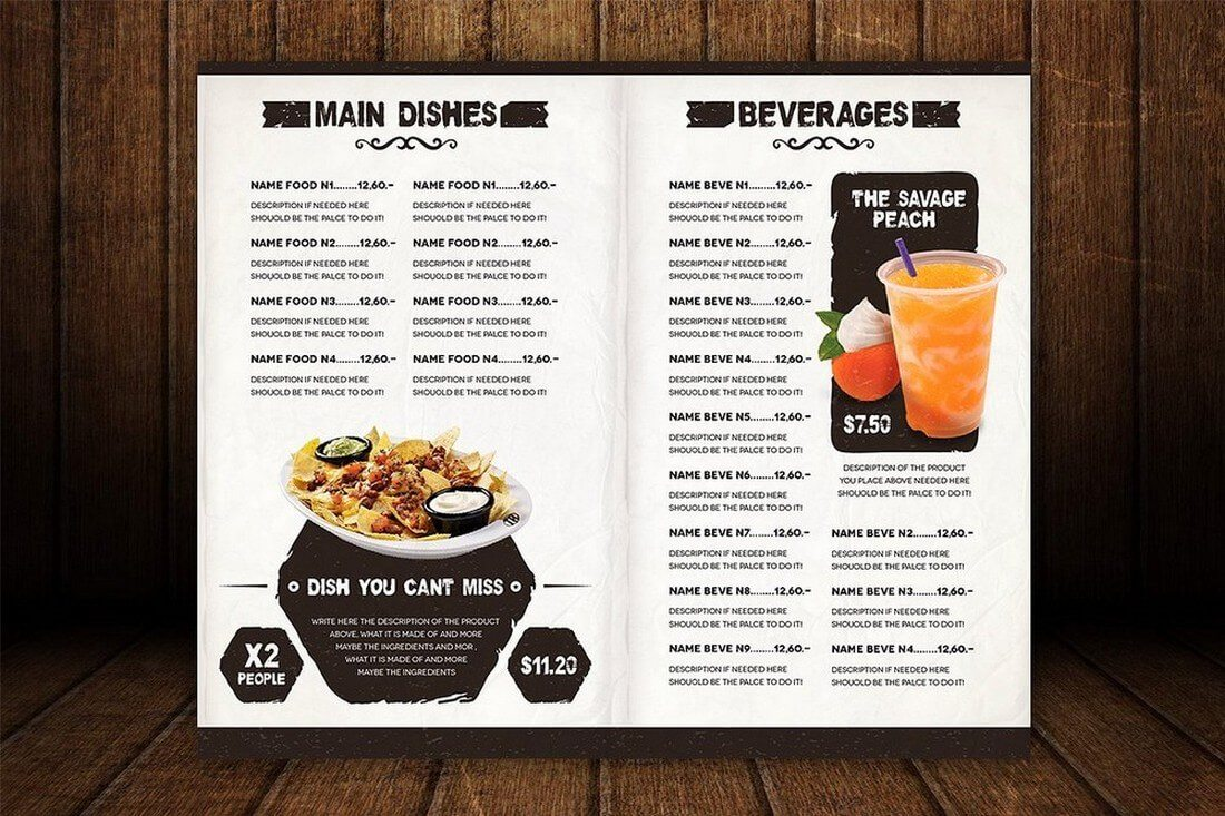 An 8 Page Menu Template Design Of 250x300mm Size. The Design Of The Menu Is  Also Highly Visual And Features A Unique Effect That Highlights The Text.  A La Carte Menu Template