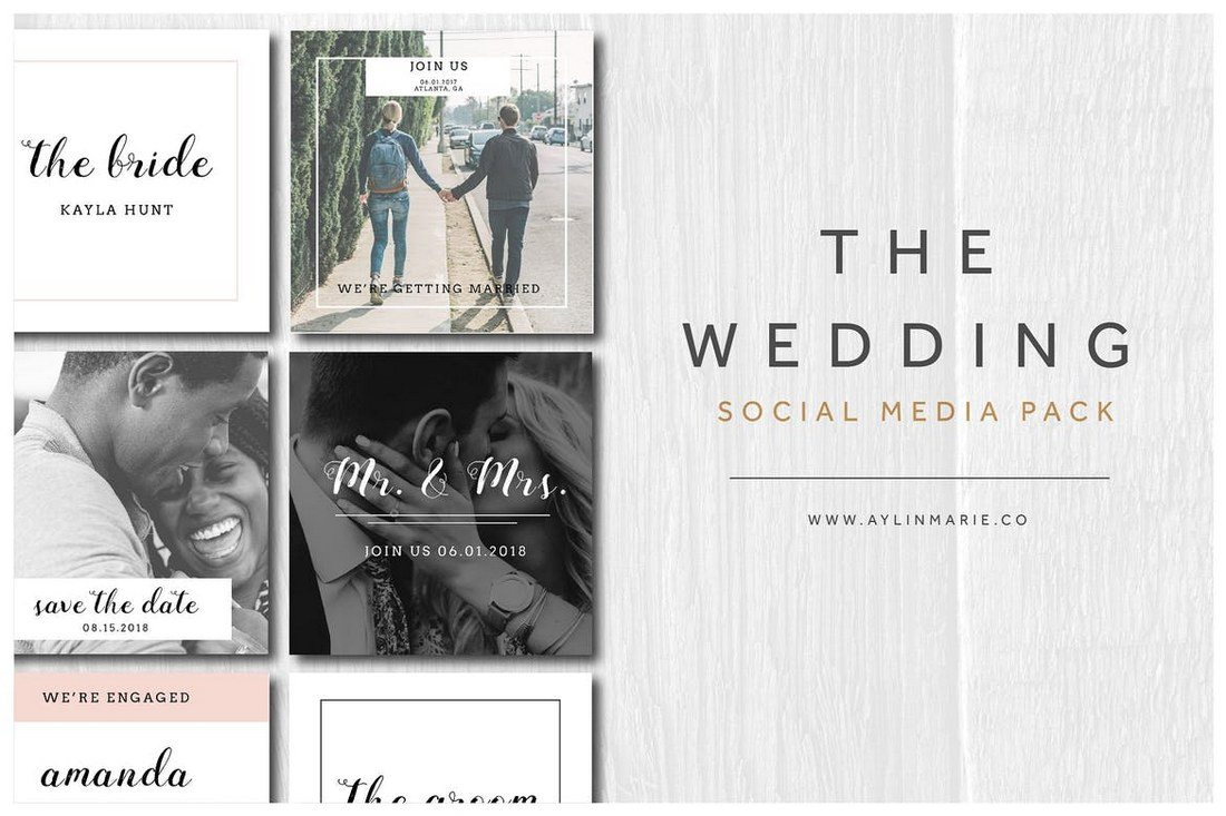 The-Wedding-Social-Media-Pack 20+ Best Social Media Kit Templates & Graphics design tips