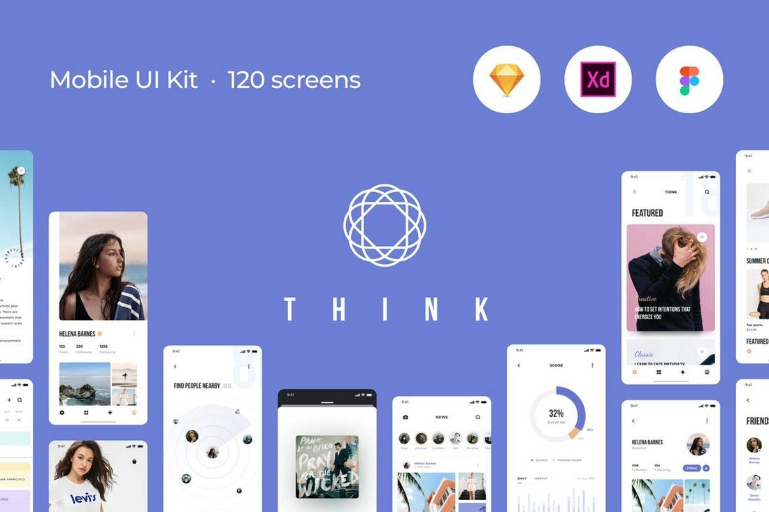 Think-Mobile-UI-Kit-120-Screen-Templates 30+ Best Adobe XD UI Kits + Templates 2020 design tips