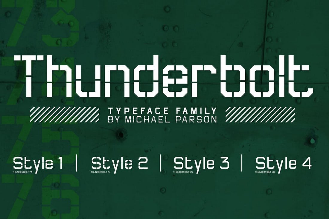 Thunderbolt-Stencil-Font-Family 30+ Best Stencil Fonts design tips