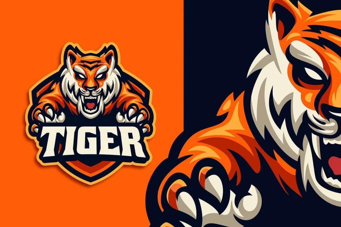Tiger Esport & Gaming Logo Template