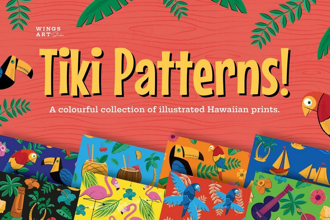 Tiki-and-Hawaiian-Patterns 50+ Best Free Photoshop Patterns 2021 design tips