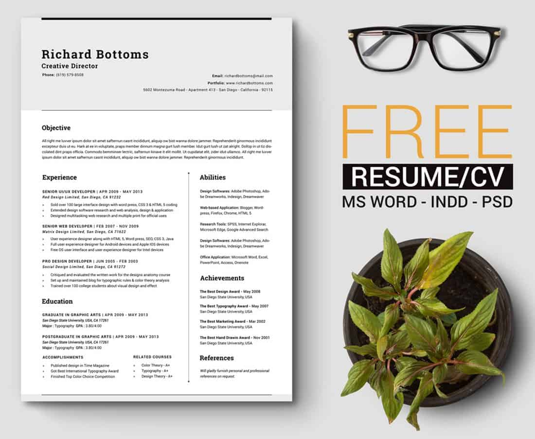 Timeless - Free Word Resume Template