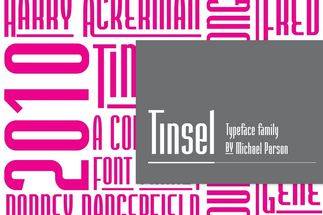 Tinsel 50+ Best Condensed & Narrow Fonts of 2020 design tips