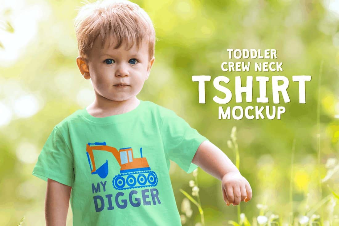 Toddler Boy Crew Neck T-Shirt Mockup